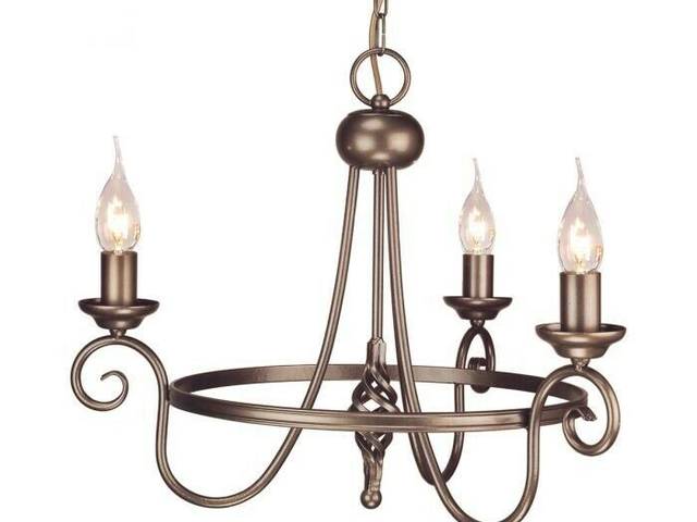 KEZ Elstead Harlech 3 Light Dark Bronze Chandelier BRAND NEW BOXED