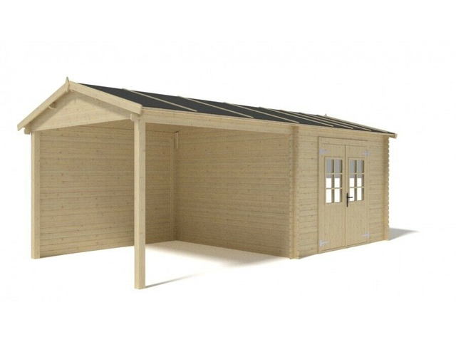 LOG CABIN SUMMER HOUSE 3m x 3m +2,8m shed/ 10ft x 10ft + 9,2ft shed (19mm) with complete floor DOM24