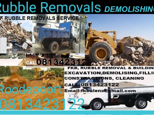 KBF RUBBLE REMOVALS BUILDING DEMOLISHING  SERVICE ROODEPOORT 0813423122